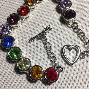 Jewelry - Silver Rainbow Stones Heart & Arrow Bracelet